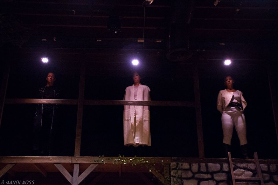 Kirsta Peterson as Lucius, Caitlin McColl as Cornelius, and Alexandra Wright as Pisanio; photo by Mandi Moss