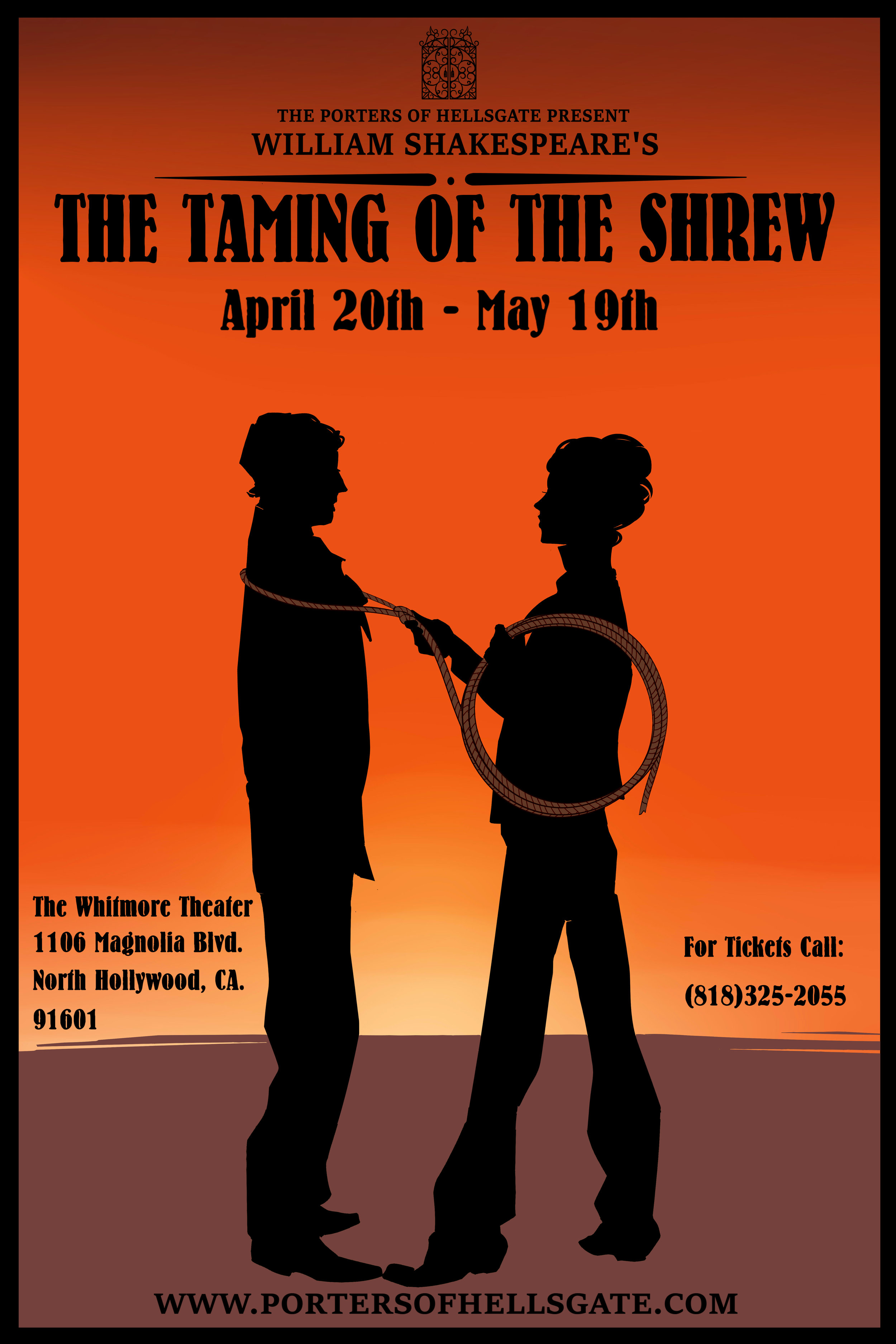 Current: Charles is working as the text coach for Taming of the Shrew… - …produced by The Porters of Hellsgate Theatre Company. Opening April 20. Image design by Kat Drude.