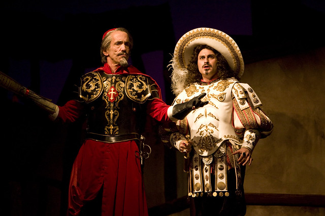 The acting was stellar- Charles Pasternak, who was my favorite Romeo EVER (take that, DiCaprio) played an utterly foppish and convincing King Louis. - Better Than Yarn; photo by Jennifer M. Koskinen, with Tom Hutton as Richelieu
