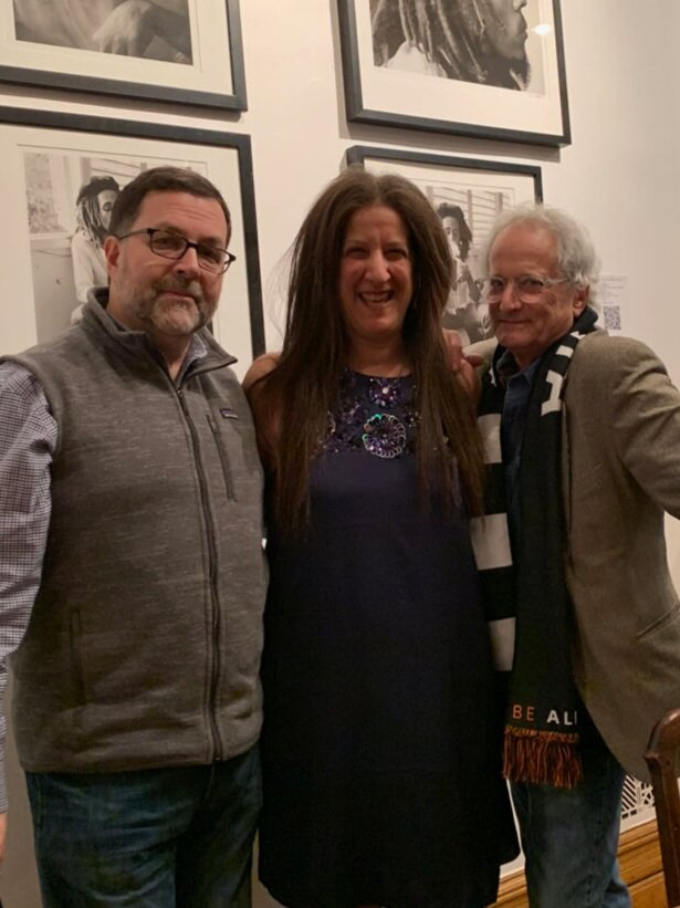 David Burnett (right), with Jeffrey Smith and Ilon Art Gallery owner, Loni Efron.