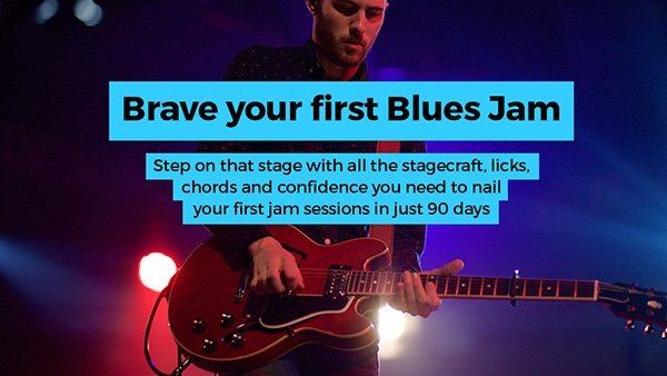 Want to play at your first jam? - Transform yourself from a bedroom player to a solid live jammer! Try my premium course Brave Your First Blues Jam