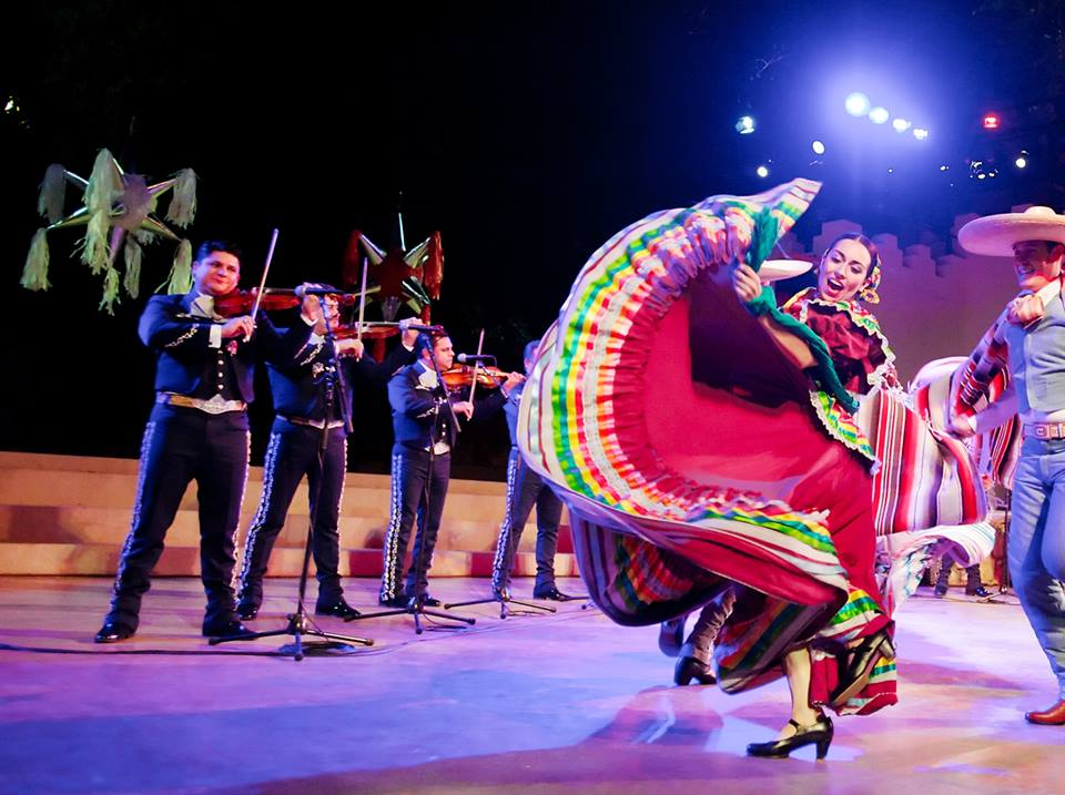 Dancing with Mariachi Los Camperos at the Ford Amphitheater.