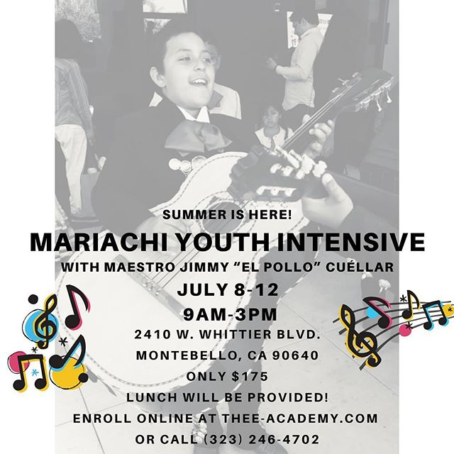Thee Academy's Mariachi Youth Intensive will take place July 8th-12th from 9am-3pm. Class will be given by Grammy Award-Winning musician, Jimmy Cuèllar. No experience necessary. Lunch will be provided. For more info visit Thee-Academy.com or call (323) 246-4702. @mgarijc #theeacademy #balletfolkloricodelosangeles #mariachi #musicsummercamp #summercamp #mariachicamp #music #mariachigaribaldidejaimecuellar