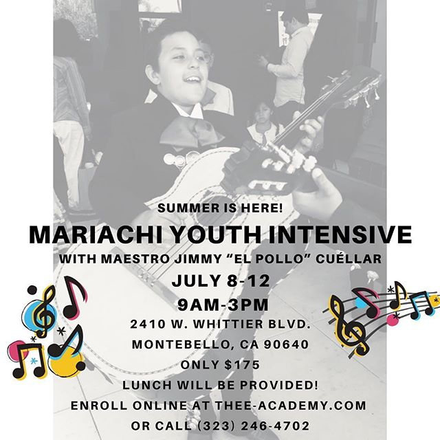 Thee Academy's Mariachi Intensive is right around the corner! To enroll visit Thee-Academy.com #theeacademy #mariachieducation #mariachiyouth #mariachisummercamp #summercamp #music