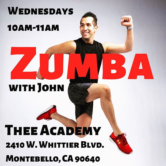 Our new Zumba Class at Thee Academy begins this Wednesday at 10am! Come have a blast while getting in shape with @johnpaul_batista. By your passes at Thee-Academy.com or in person on Wednesday. We're located at 2410 W. Whittier Blvd in Montebello.  #zumba #theeacademy #zumbaclasses #zumbafitness #montebello #fitness