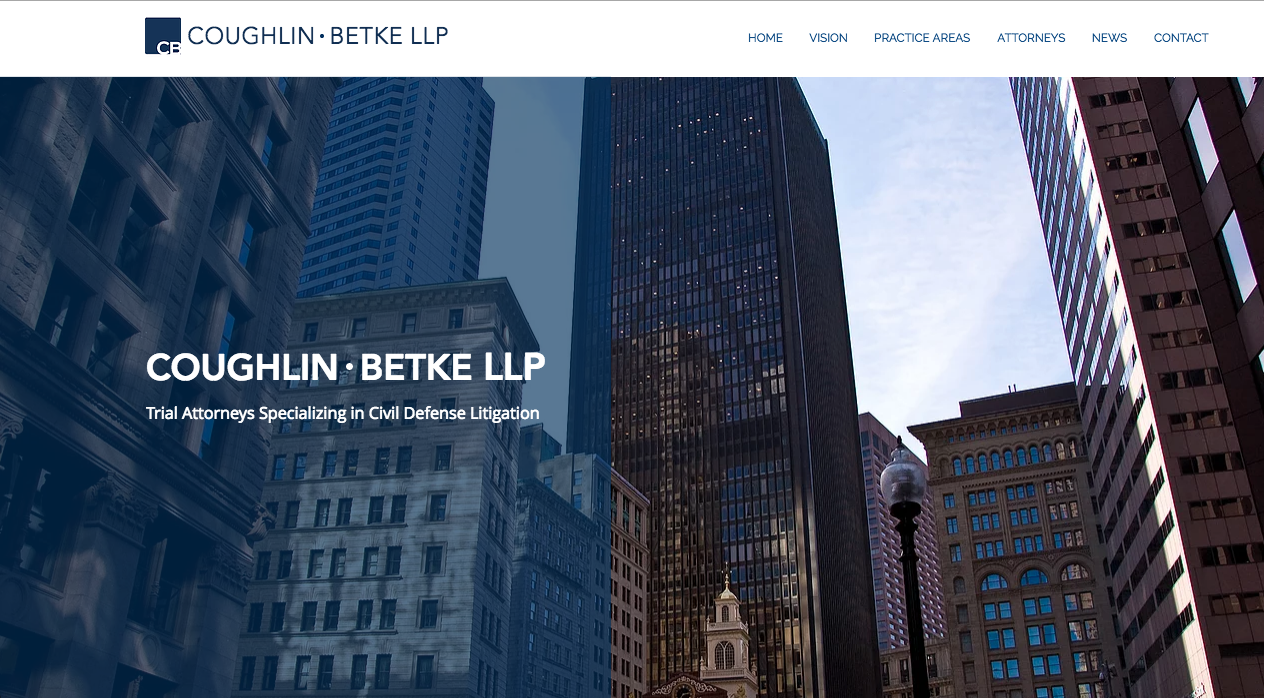 Homepage - background image is of Boston