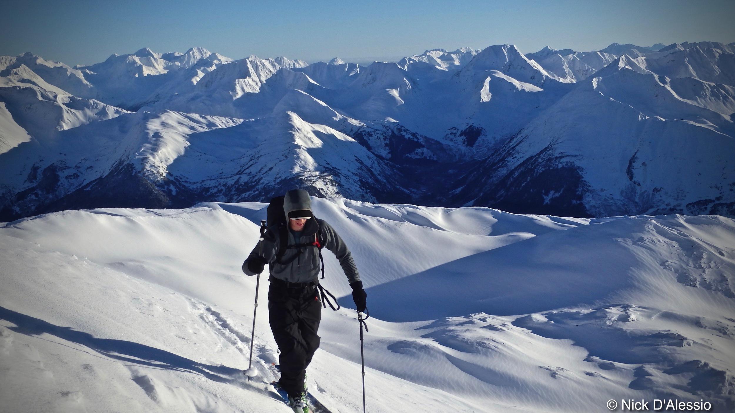 Skiing Chugach Mountains Girdwood Alaska