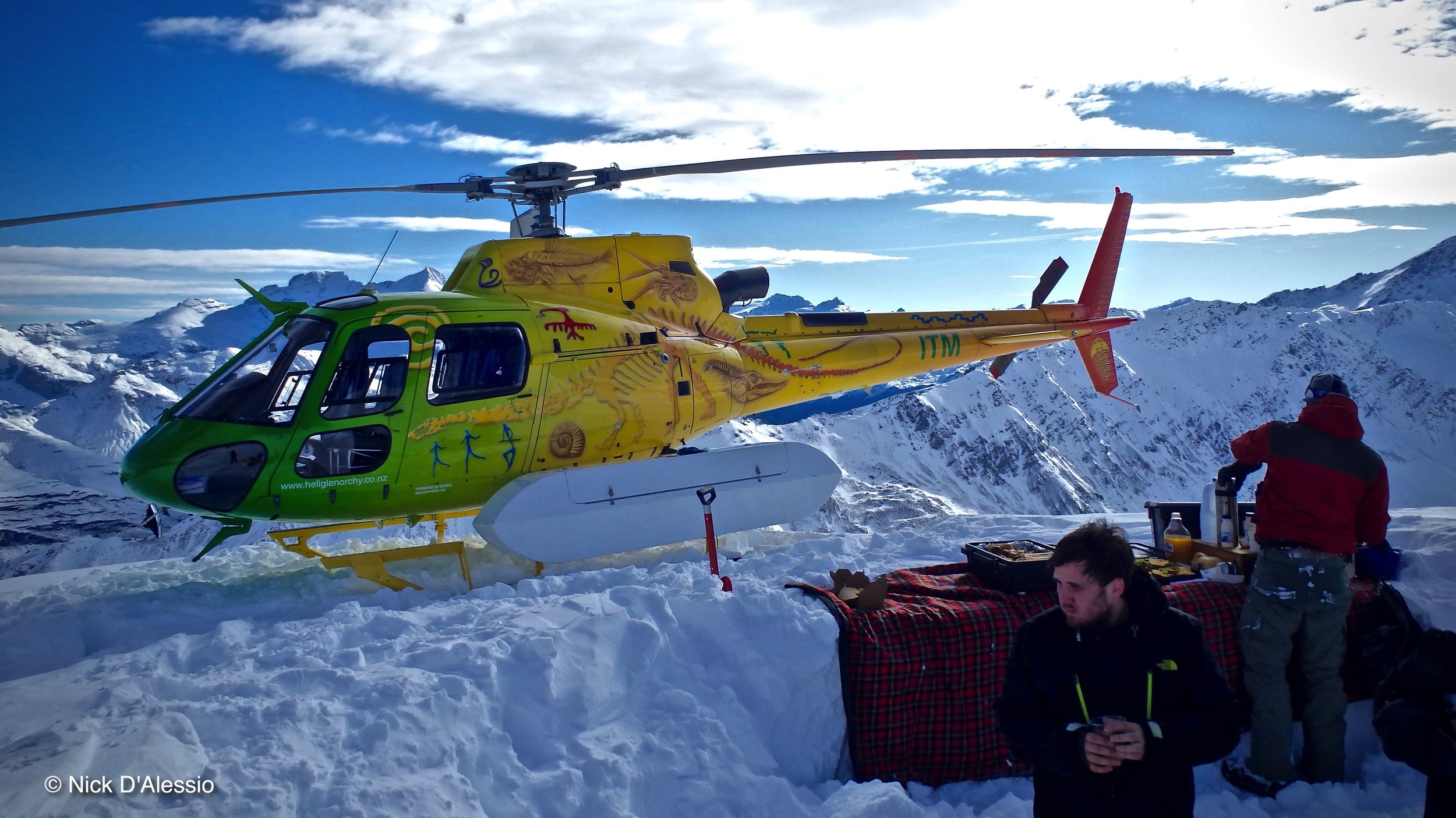 Heli ski lunch time. Photo by Ski Guide Nick D'Alessio