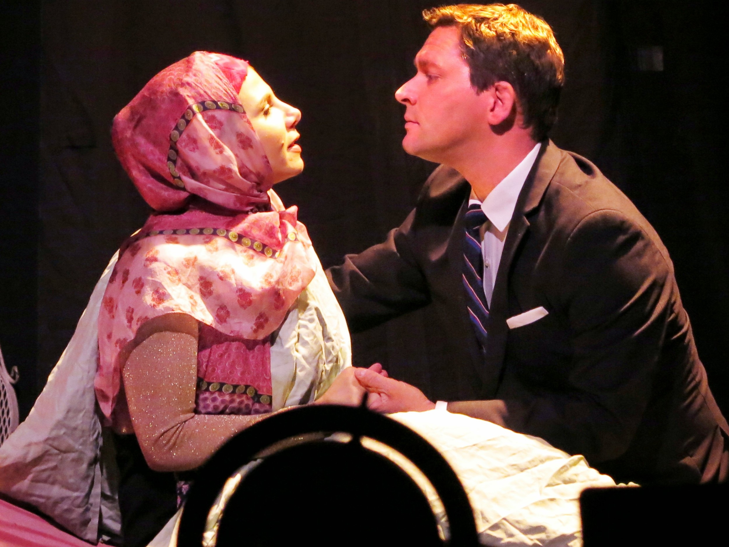 Marlain Angelides and Brian Childers in MY WIFE IN A CHADOR directed by Stephan Morrow at Theater For The New City, Nov 2014