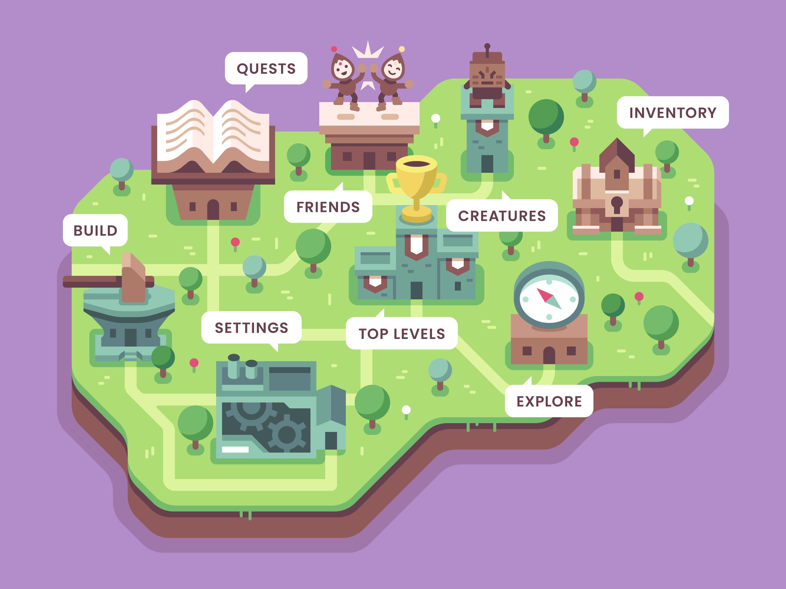 Brave Explorers menu concept art by Alex Pasquarella