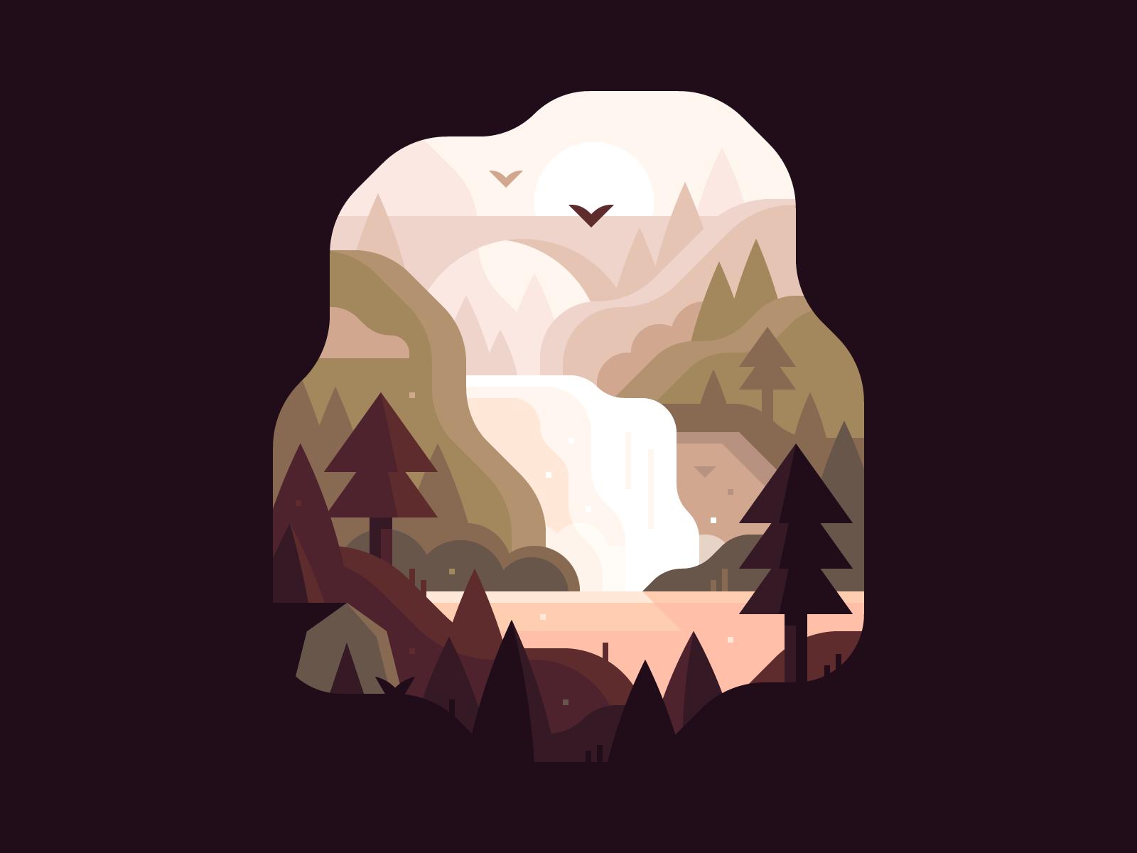 Upper Falls, Letchwoth State Park illustration by Alex Pasquarella