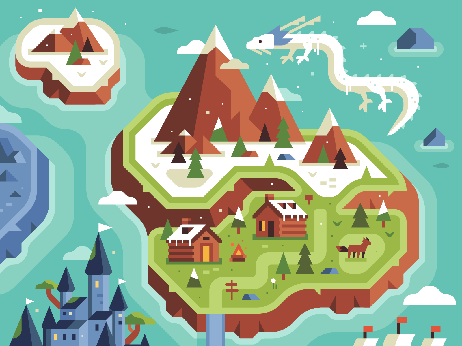 Two Dots Level Uplands Treasure Hunt map by Alex Pasquarella and Canopy Design and Illustration