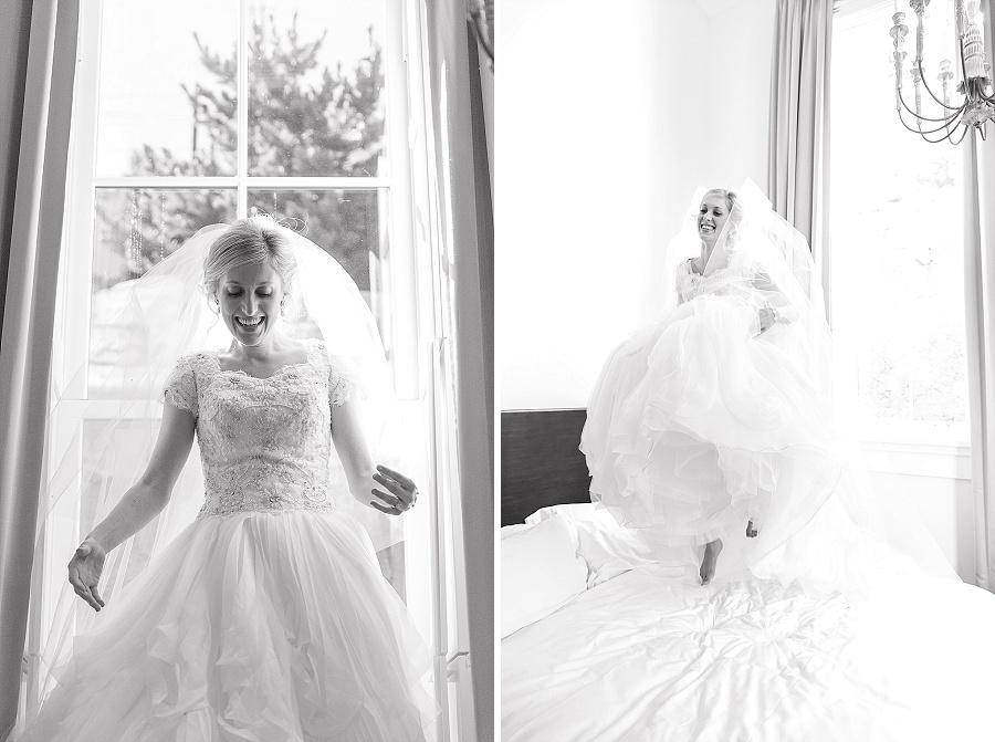 bride jumping on bed utah