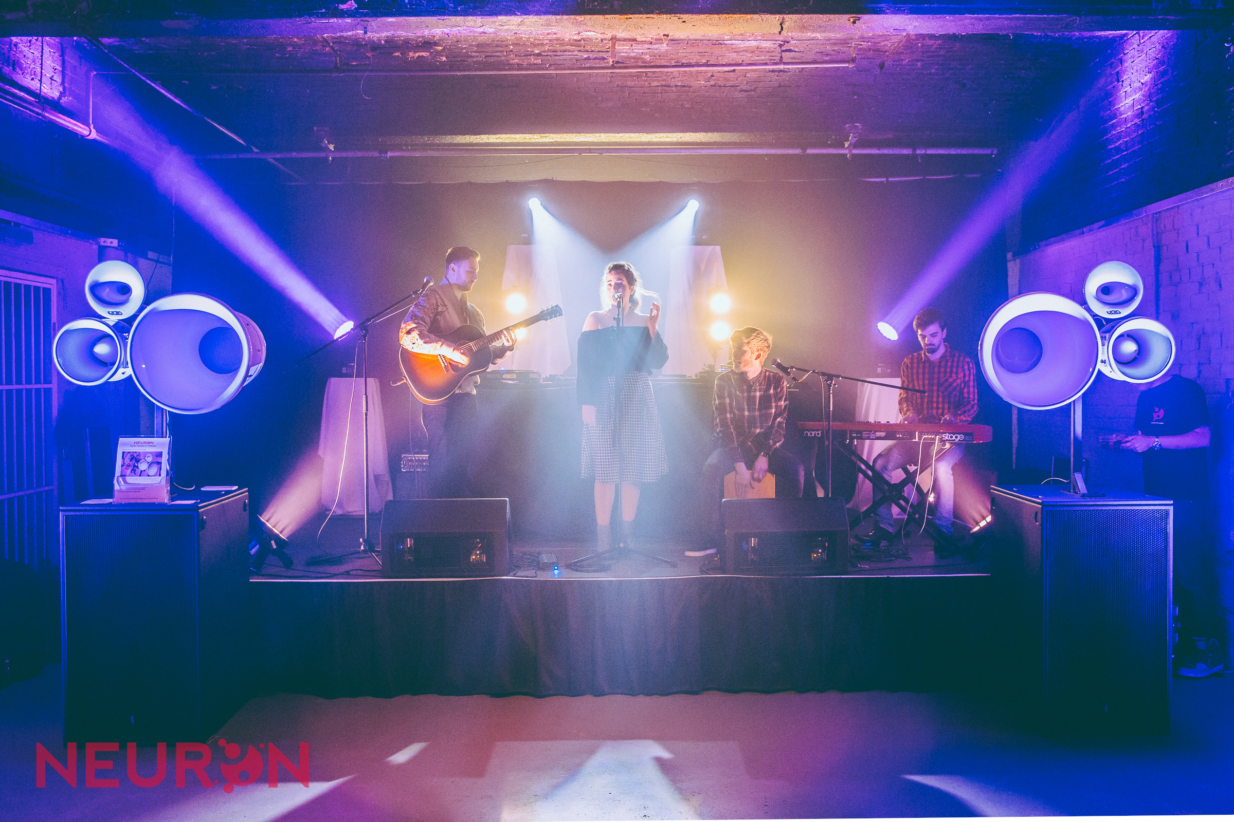 Band lit by Chauvet Rogue spots and wash effects