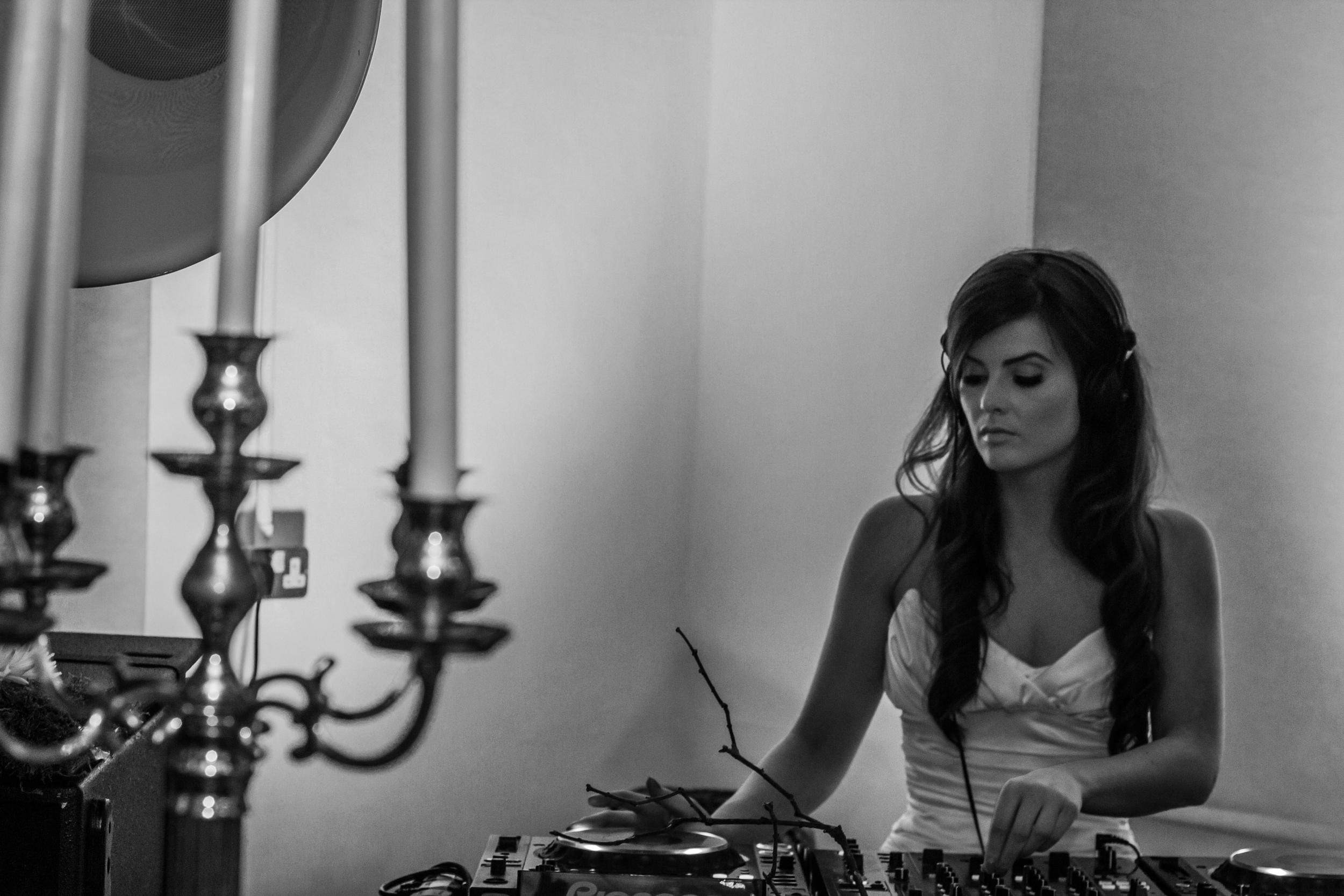 Jamie-Ann Leech DJing at Vogue Manchester wedding event 2014