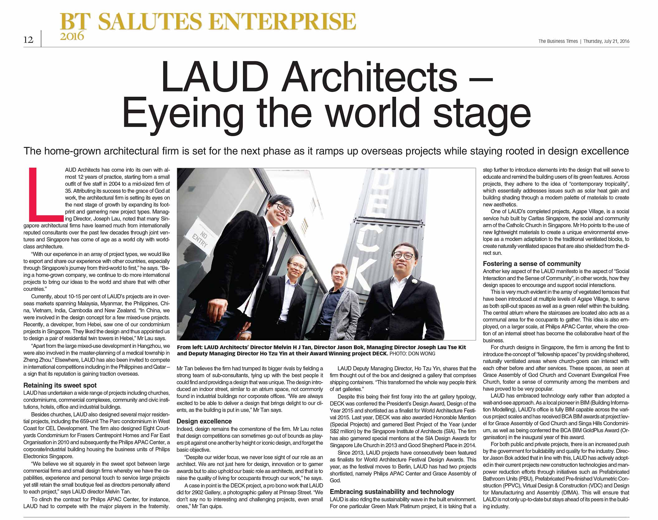 Business Times feature