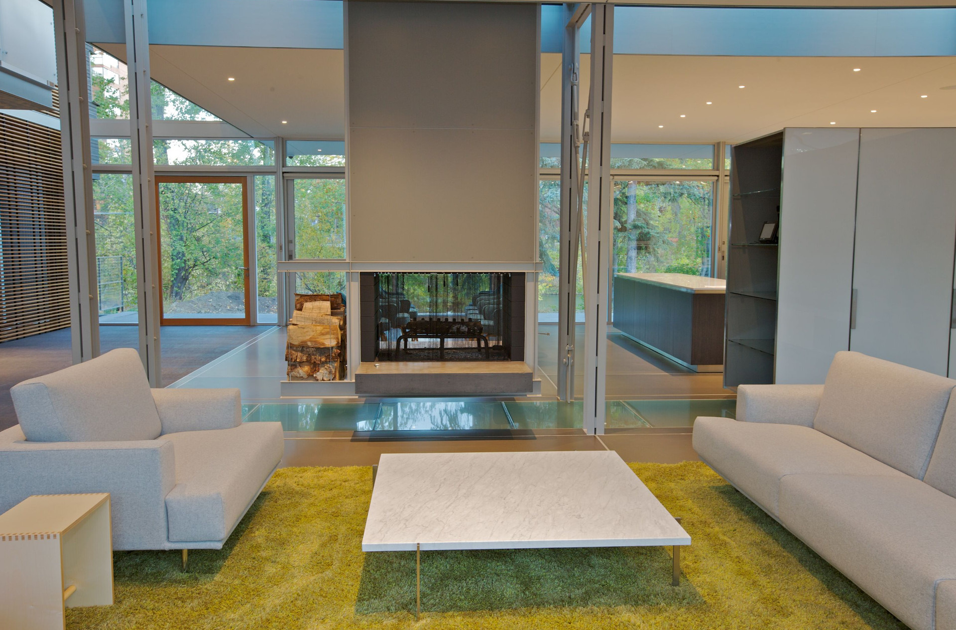Custom glass floor, hinged door, aluminum details