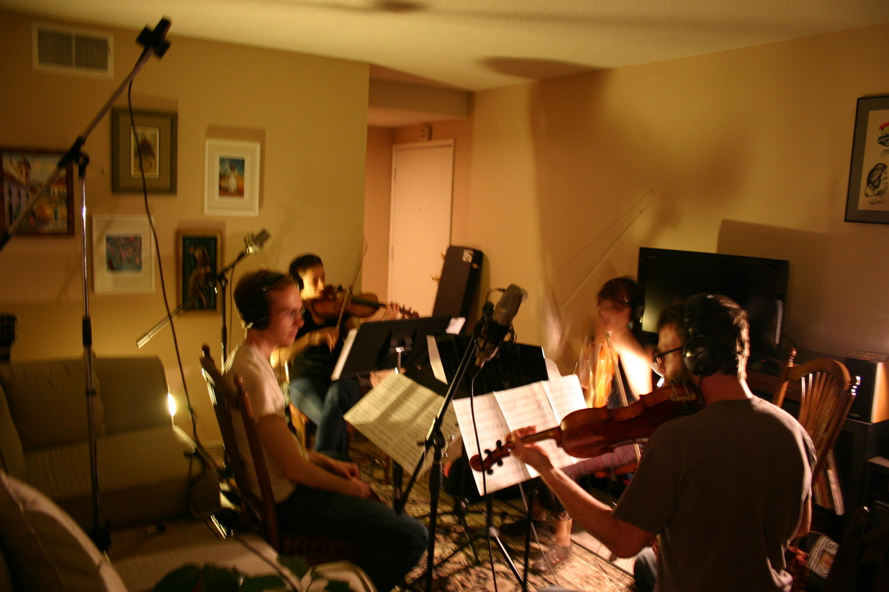 This is what it looks like when you record a String Quartet in a living room.