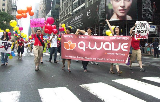 Q-Wavers marching in the Heritage of Pride Parade