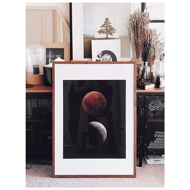 Super Blue blood moon in 16x20. Giclee print on Canson Rag Photographique.  January 31, 2018. . . . #supermoon #superbluemoon #superbluebloodmoon #bluemoom #bloodmoon #photographyprints #woodenphotoframe #moonprint #moonphotography #astrophotography