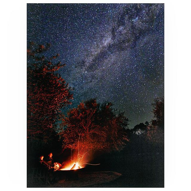 A Campfire and the Milky Way. A Tiny house on an olive grove.  There's nothing like doing nothing after attending a lecture about nothing the day before. @shacky_com  #thrmilkyway #campfire #olivegrove #tinyhouse #longexposure