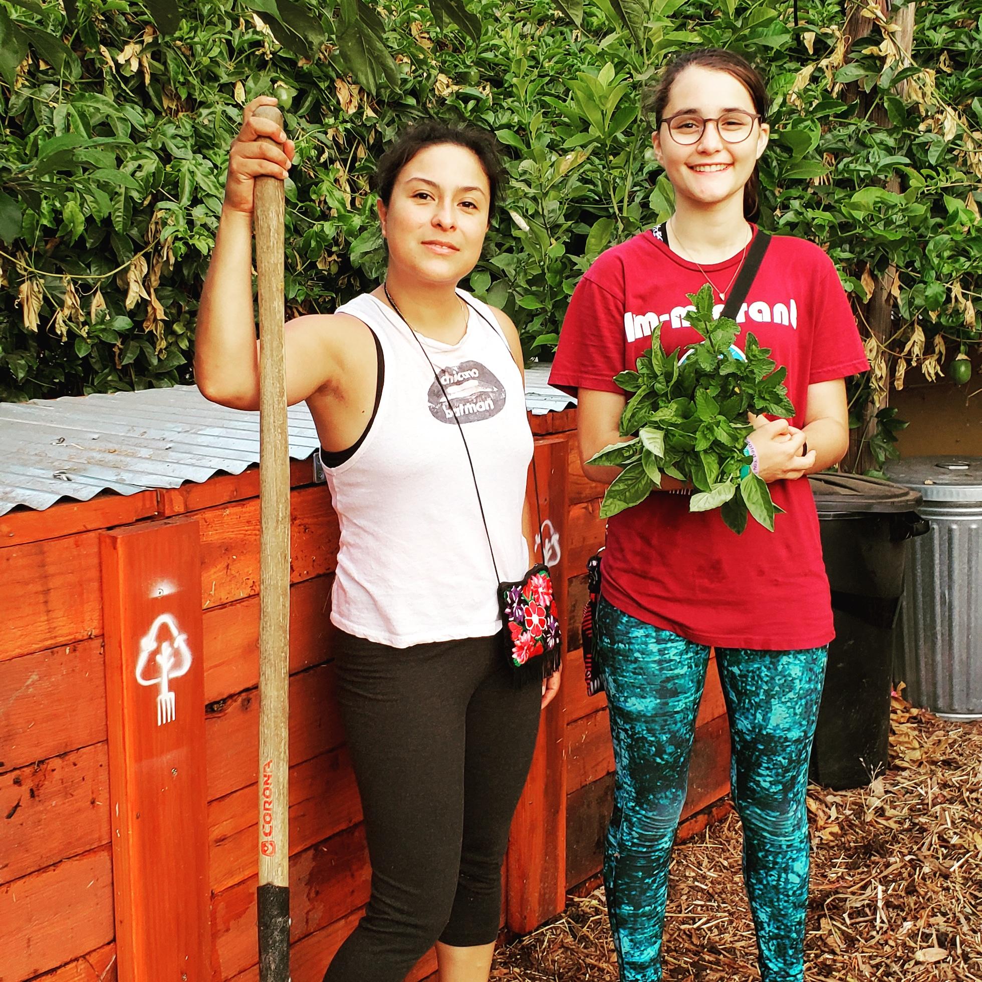 Vanedy Medina, PJLA Community Compost Maker, and Regina Ortiz, Echo Park Youth Volunteer, at the EP Community Compost Hub.