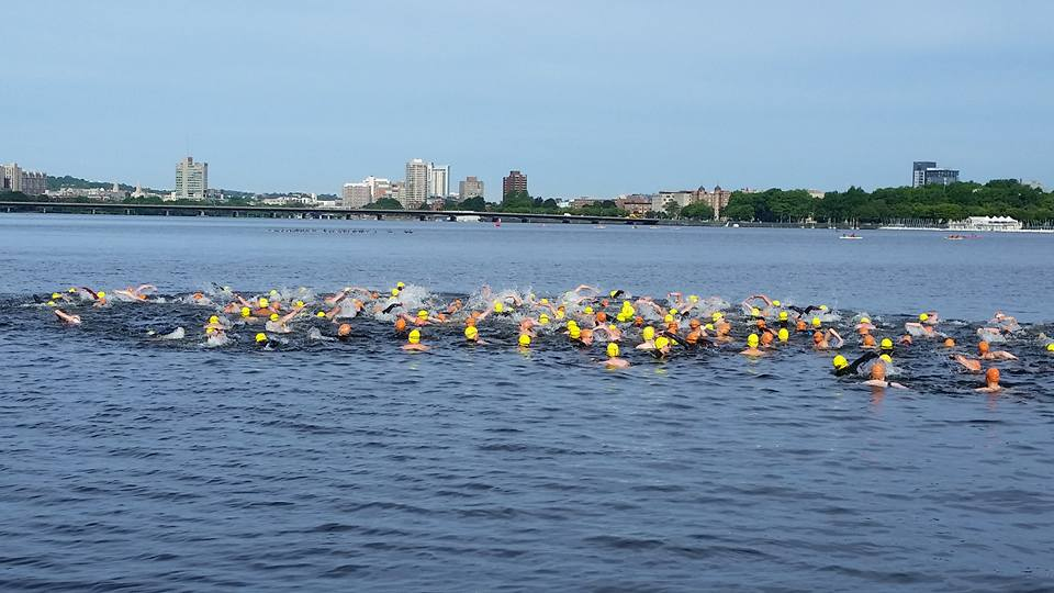 Competitors at the start of the Eighth Annual Charles River One Mile Swim