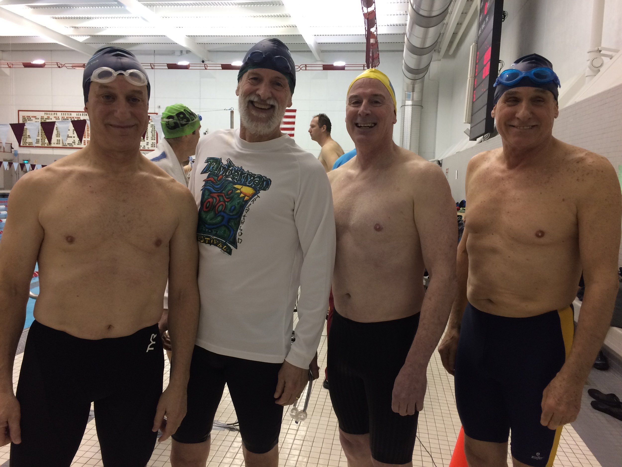 Rob, Jay, Dan, and Fred after a record-setting swim