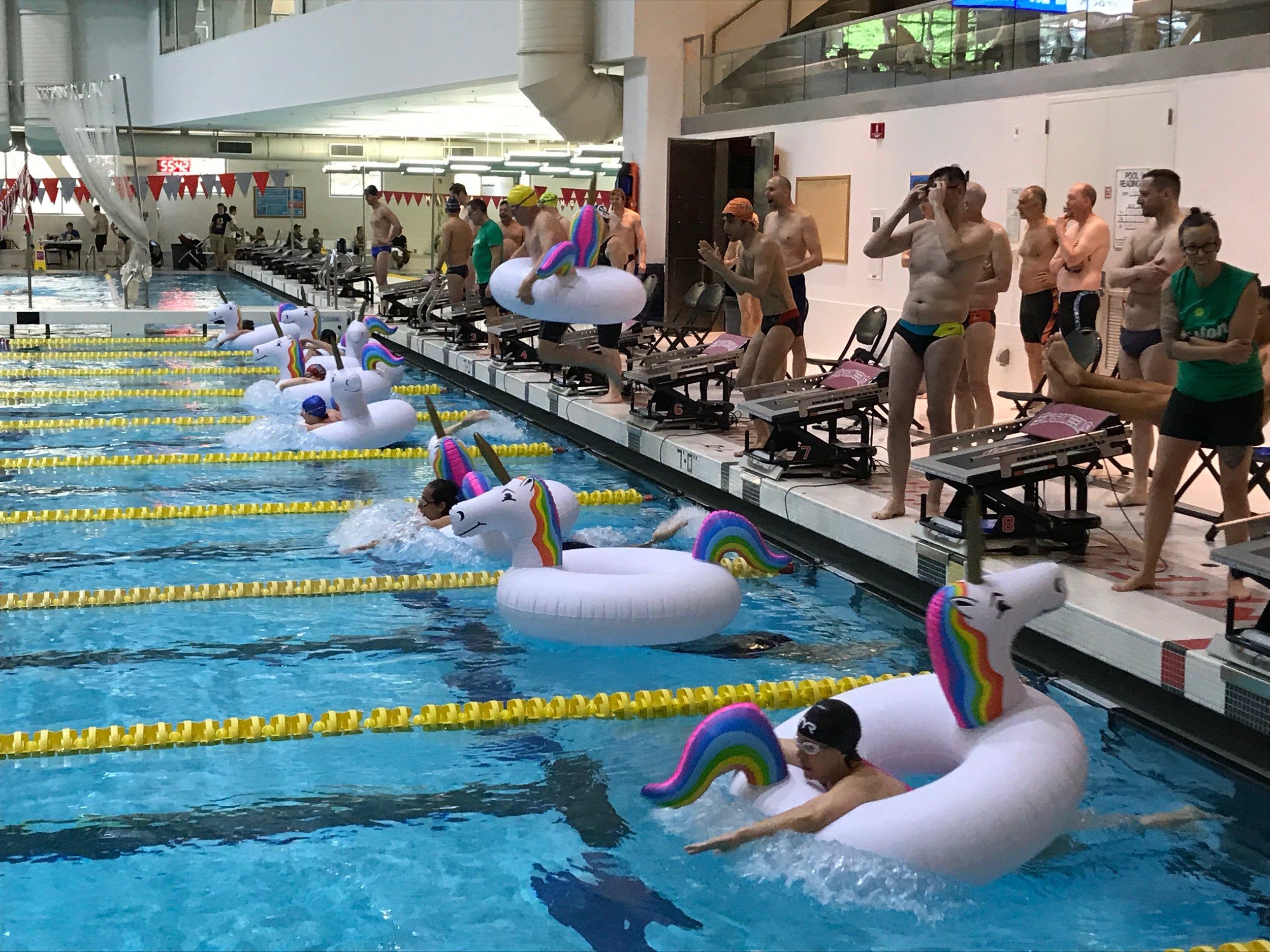 """The """"Fun Relay"""" - 4x 25 on unicorn pool floats"""