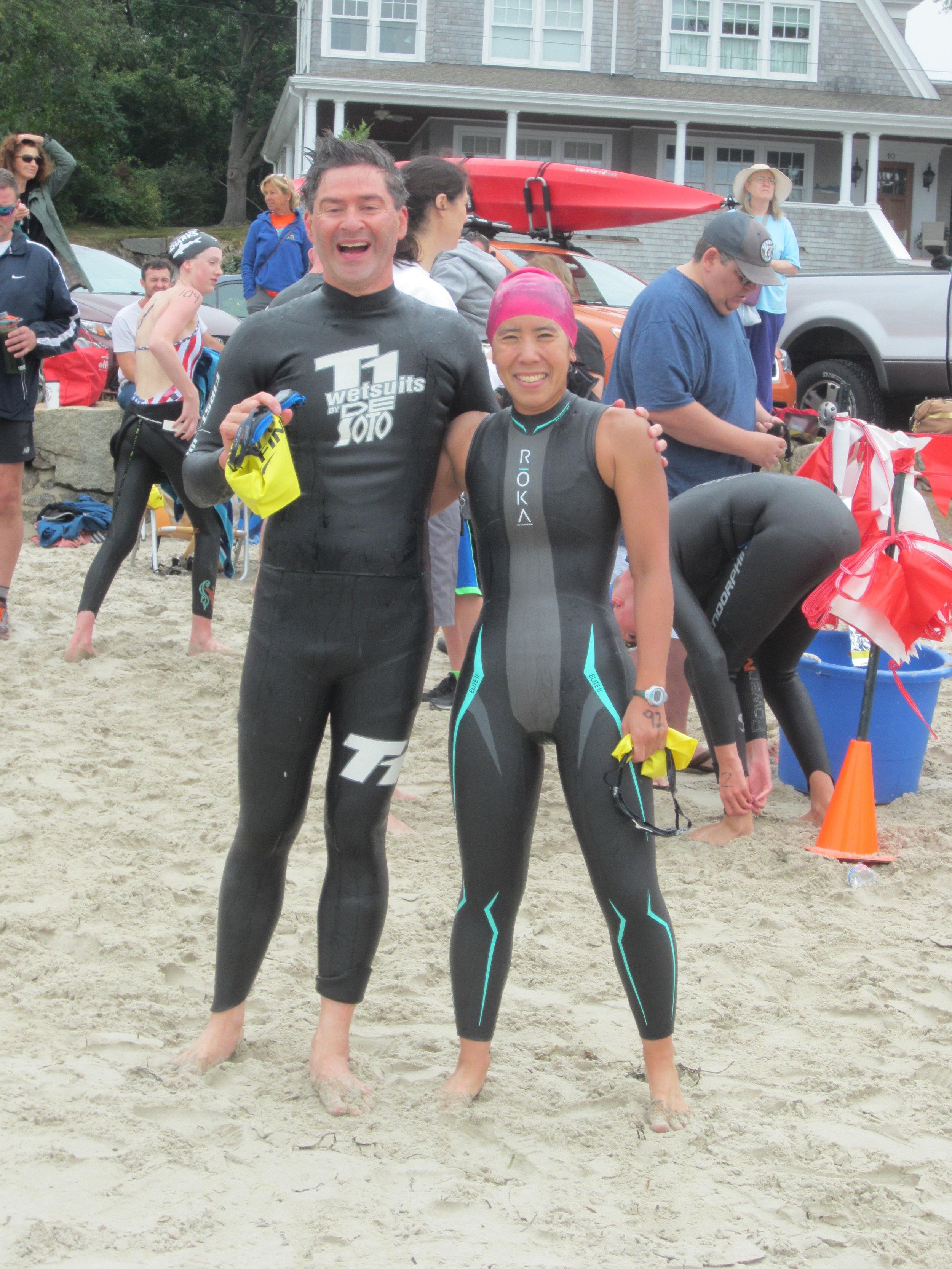 Charles River Masters swimmers David Bentley and Andrea Sonan