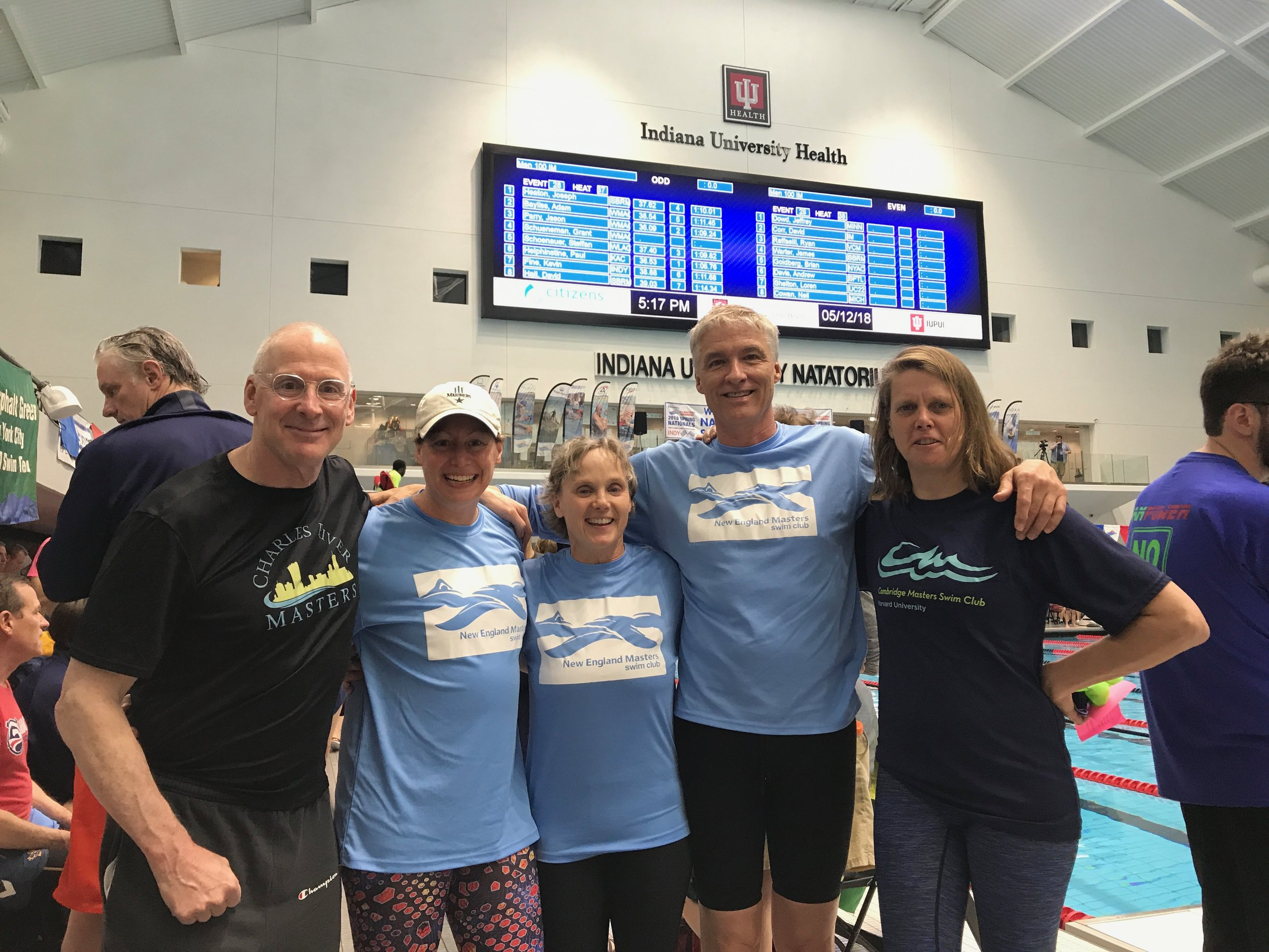 CRM swimmers Dan Epstein, Jen Downing, Sue Jensen, Bill Davis, and Chris Pasterczyk