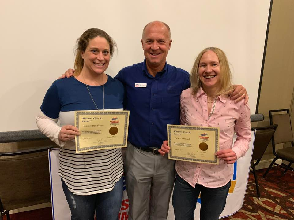 Newly minted Level 3 Masters Coaches Jennifer Passafiume and Pamela Crandall with USMS COO Bill Brenner