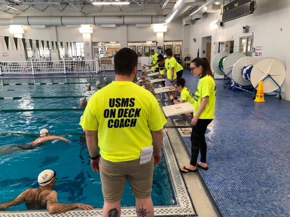 Coaches got hands-on experience during the in-water portion of the Clinic Course for Coaches while swimmers got a USMS Stroke clinic