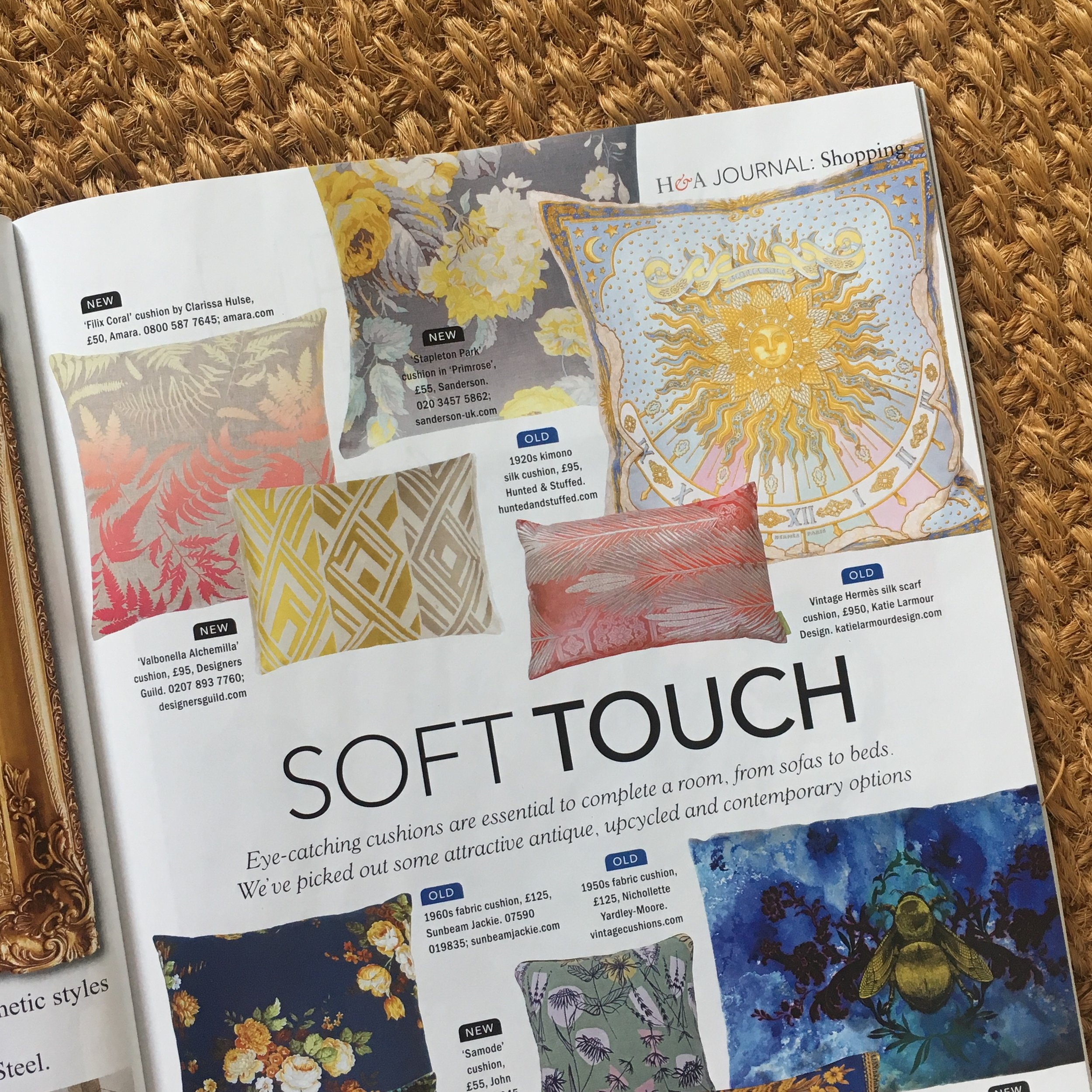 Antiques & Home Magazine featuring Katie Larmour Couture Cushion creations, Katie Larmour Design Ireland  .jpg