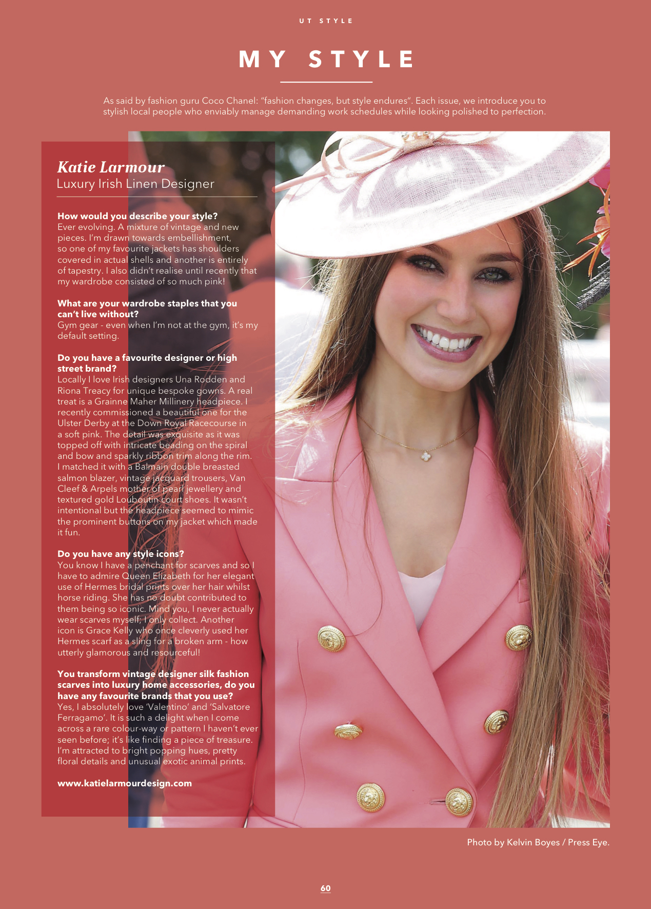 Ulster Tatler Magazine Feburary 2018 Issue Katie Larmour Design Fashion Feature 'My Style' .jpg