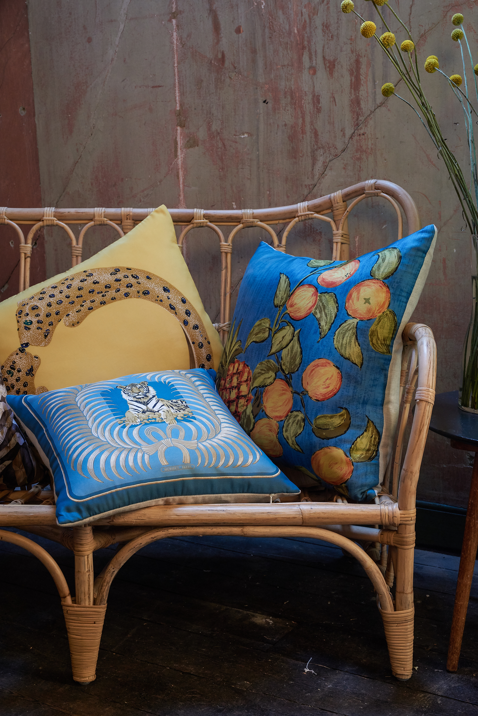 Belfast designer Katie Larmour's Luxury Handcrafted Vintage Silk Scarf and Irish Linen Cushions Pillows, 2014, Brown Thomas Dublin Ireland 1.JPG