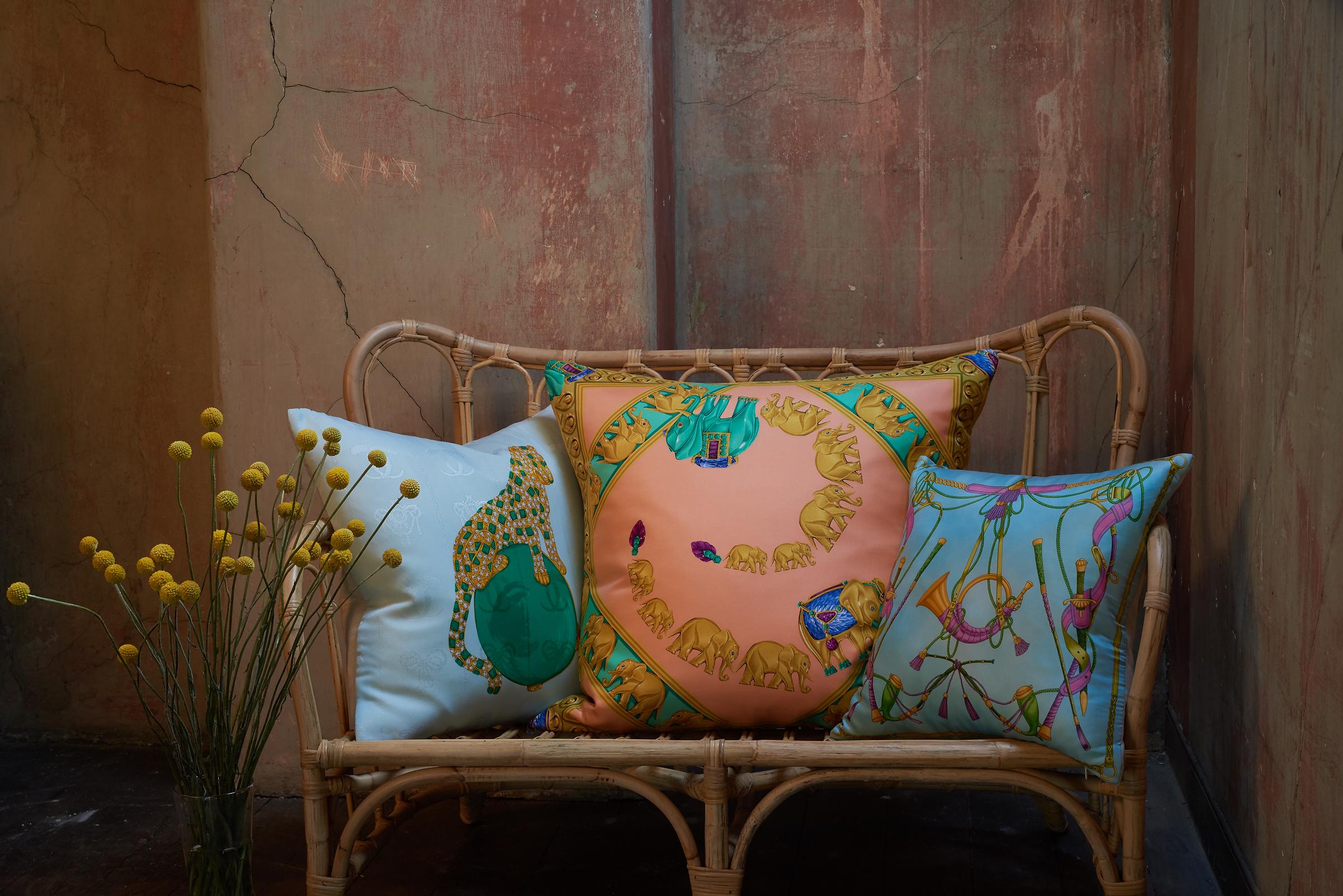 Belfast designer Katie Larmour's Luxury Handcrafted Vintage Silk Scarf and Irish Linen Cushions Pillows, 2014, Brown Thomas Dublin Ireland 4.JPG