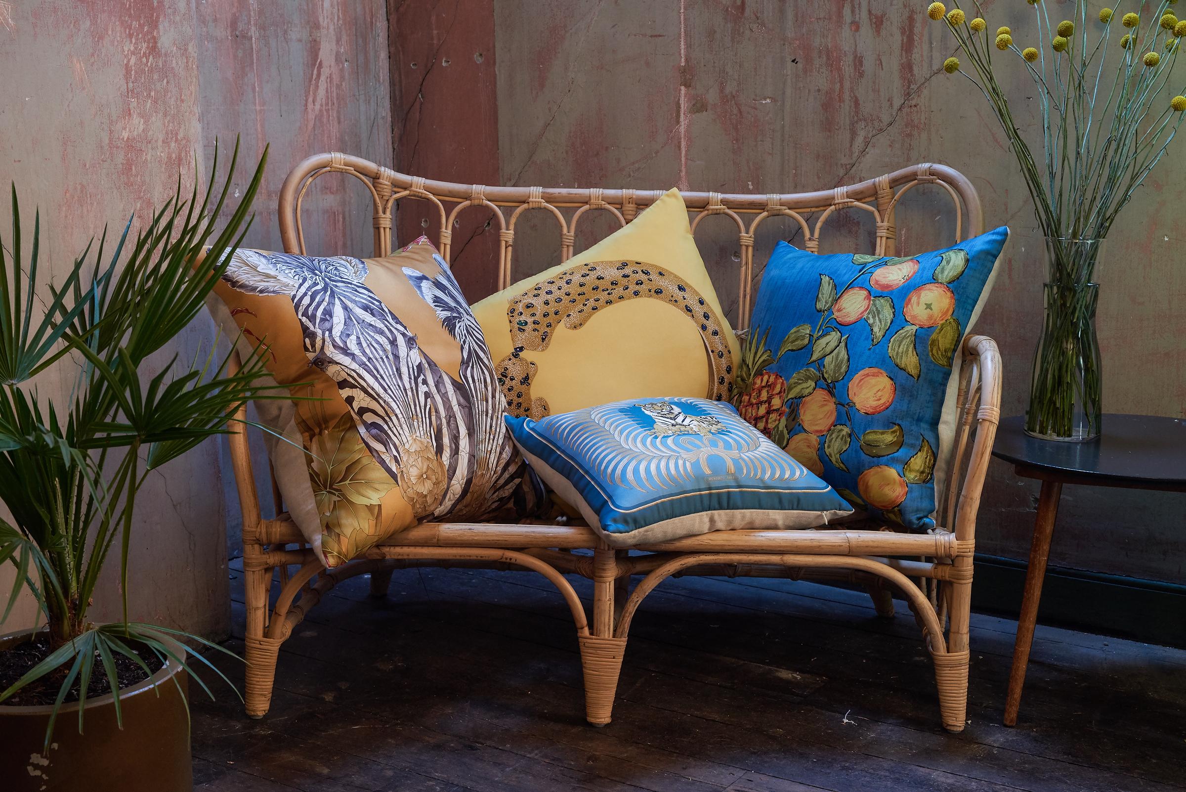 Belfast designer Katie Larmour's Luxury Handcrafted Vintage Silk Scarf and Irish Linen Cushions Pillows, 2014, Brown Thomas Dublin Ireland 3 .JPG