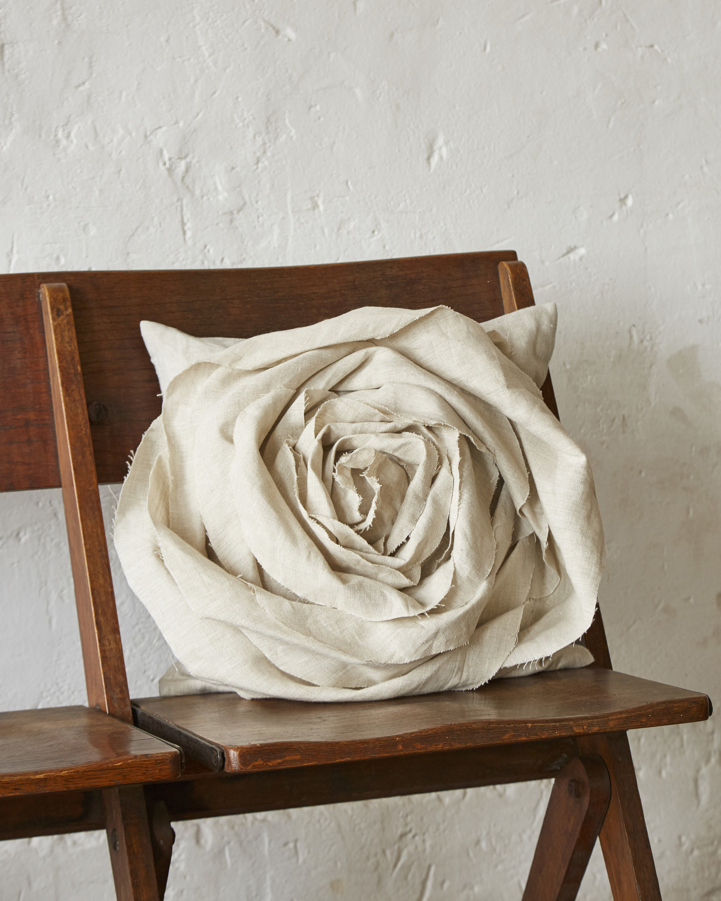 Katie Larmour Design - Handcrafted Rose Cushion created vintage Irish Linen Biennale 115.jpg