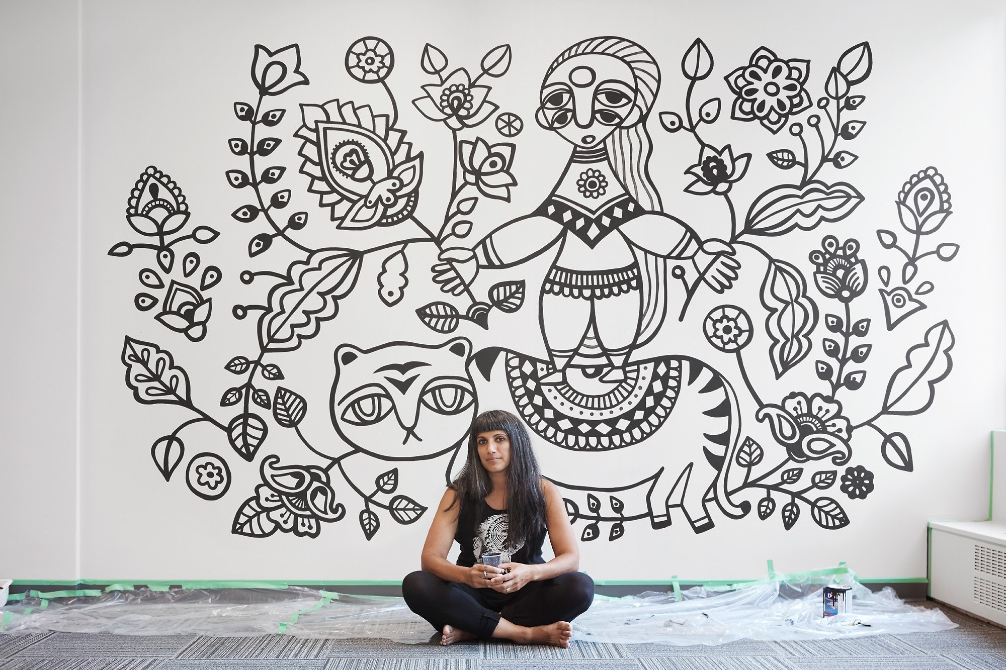 Lady On Tiger  (8' x 10') This mural was created through the Thrive Art Studio Mural Residency Program, Vancouver, 2017 Located at The Profile Co-Working Business Club, 535 Thurlow Street Photo credit: Laara Cerman