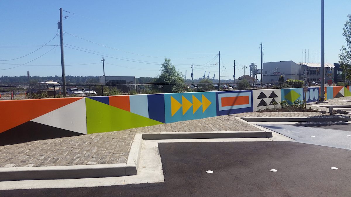 Flow  (4' x 700')    This design was created in partnership with the City of New Westminster and painted by Jason Statler, 2017 Located at Front Street between 6th and Begbie Photo credit: Biliana Velkova