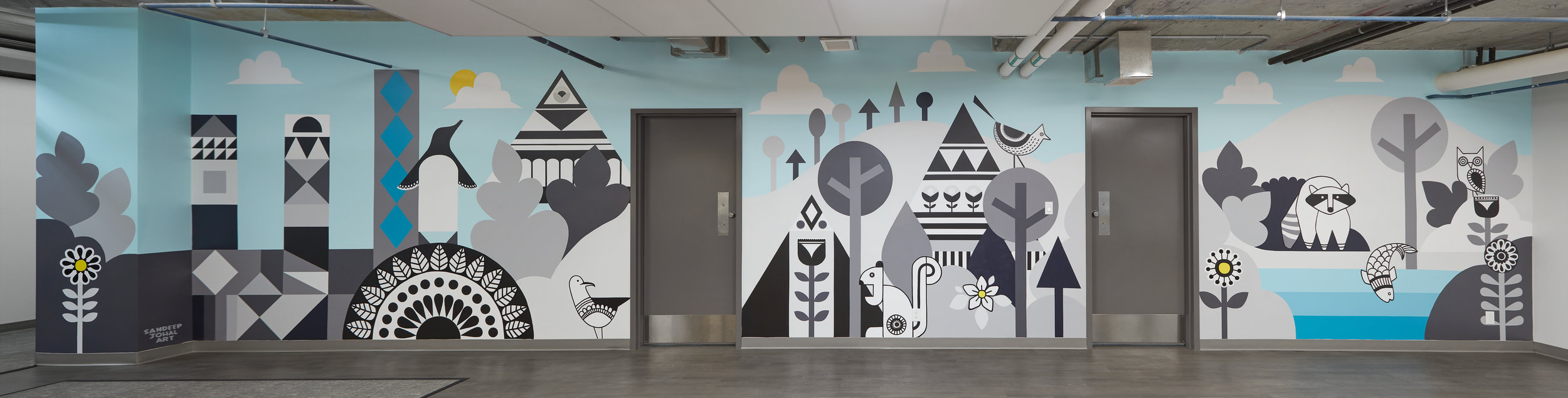 This mural was created for the staff room of Civic Hotel, Surrey, 2018 (~ 240 sq ft+) Located at 13475 Central Avenue Photo credit: Laara Cerman