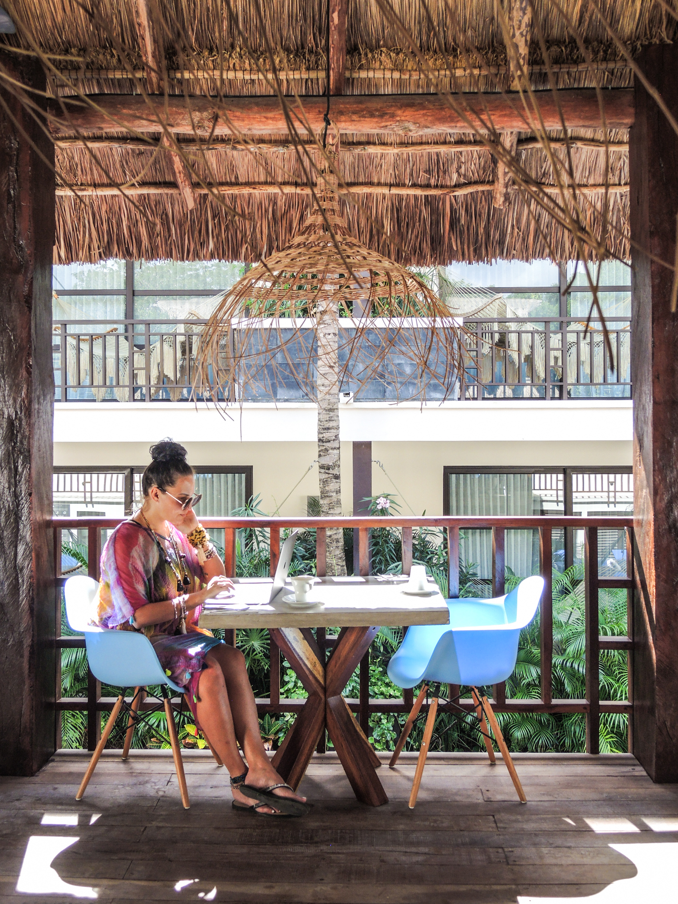 WORKING HARD AT THE BEAUTIFUL  KASA HOTEL  IN TULUM, MEXICO
