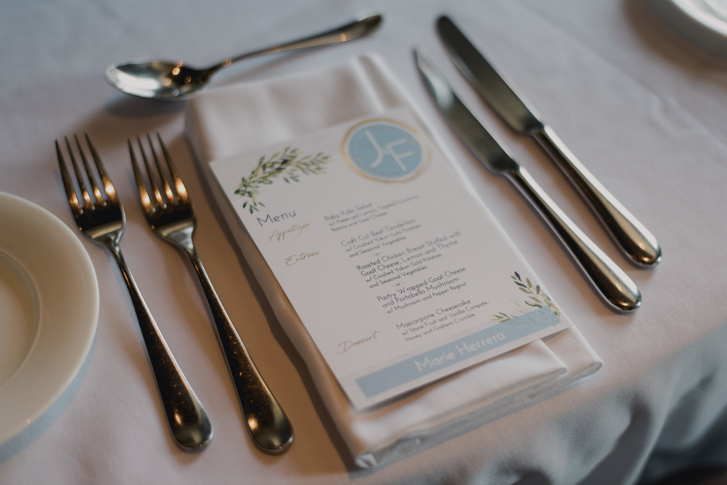 Personalized Menu Cards for each Guest