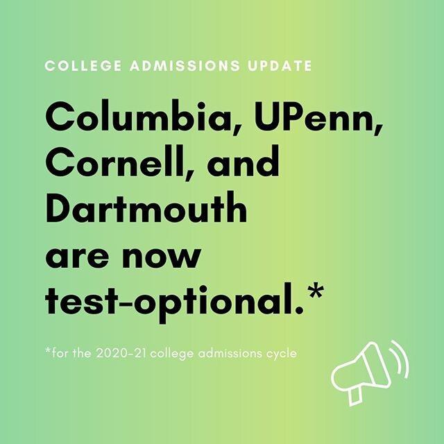 This week Columbia, UPenn, and Dartmouth joined Cornell in making the decision to go test-optional for the 2020-21 college admissions cycle. To learn more about how COVID-19 is changing college admissions, visit the Prepory blog. ⁠ ·⁠ ·⁠ ·⁠ ·⁠ ·⁠ ·⁠ ·⁠ #SAT #ACT #ivyleague #college #collegeprep #collegestudents #collegeapplications #collegedegree #collegelife #students #highereducation #studentsuccess #admissions #highered #collegecampus #studentsupport #collegecounseling #undergraduate #picoftheday #love #instagood #photooftheday #followme