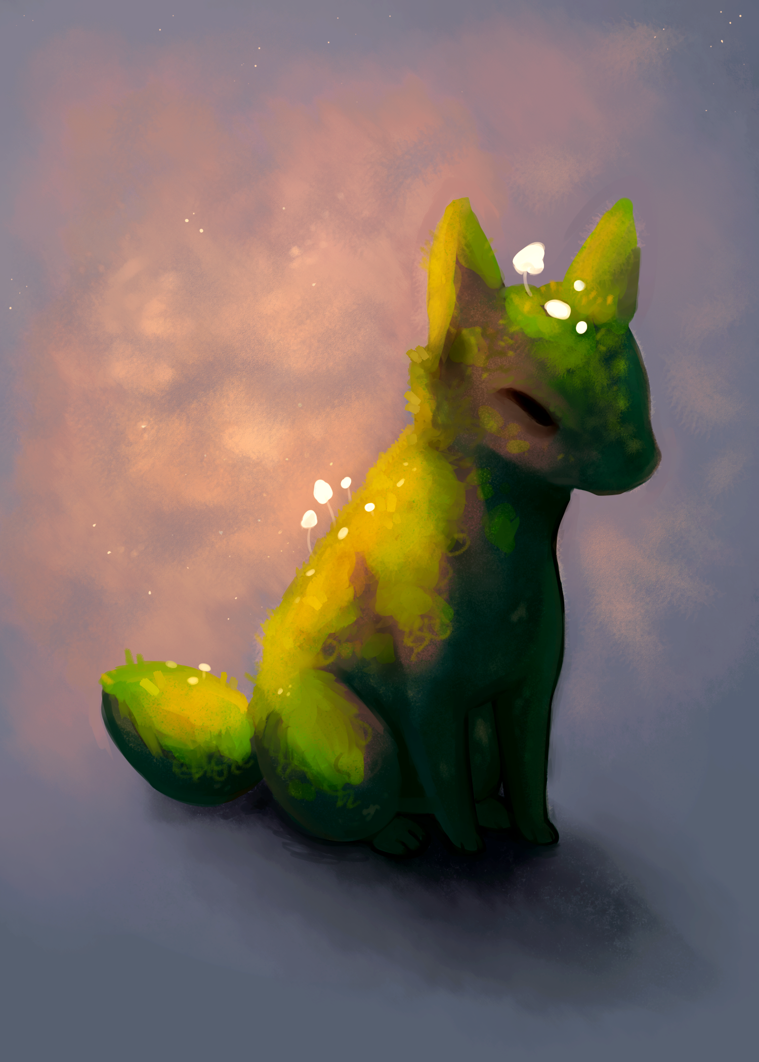 Fox  from my Ancient Fauna mini-series, Summer 2019.  Digital painting.