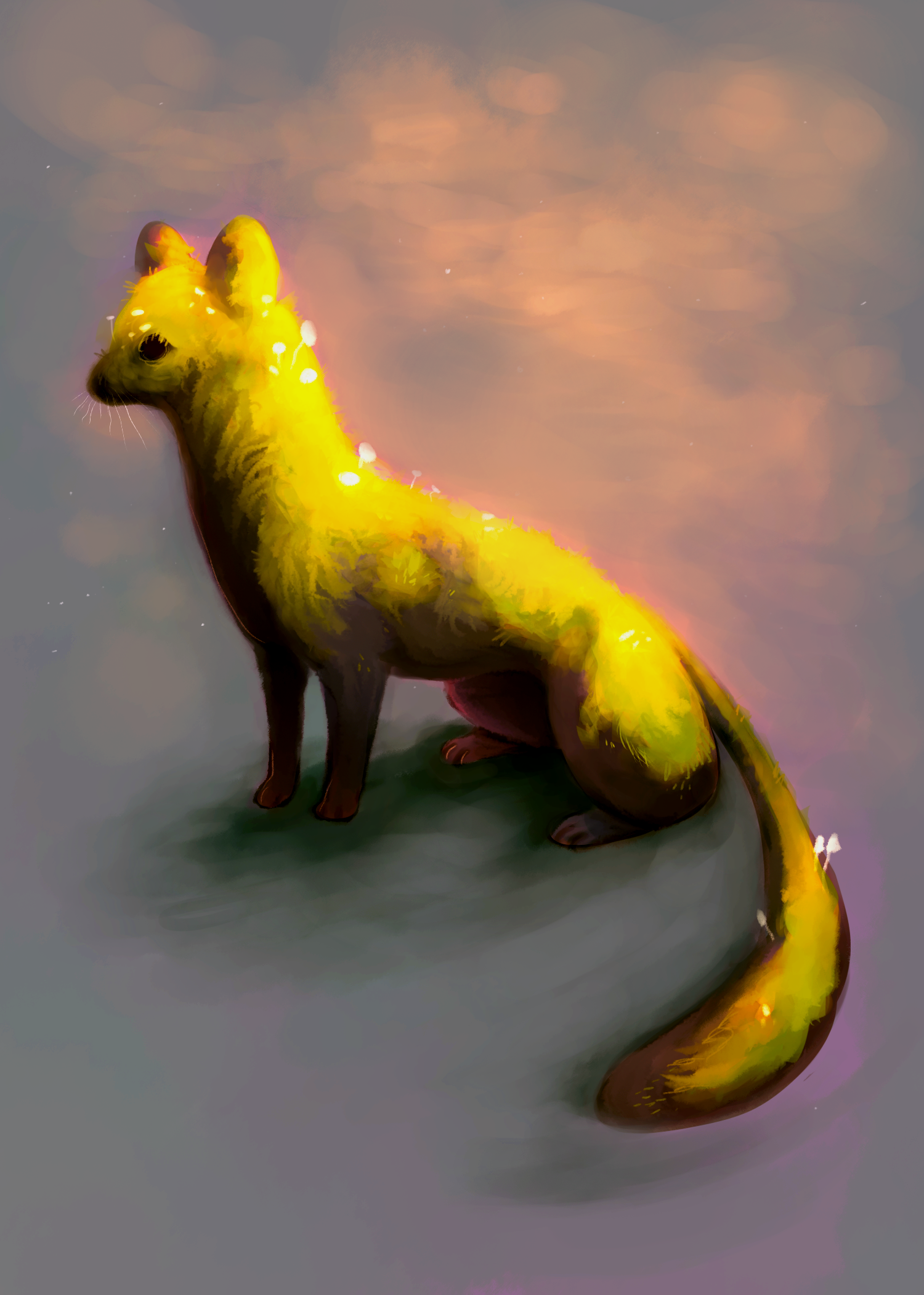 Pine Marten  from my Ancient Fauna mini-series, Summer 2019.  Digital painting.