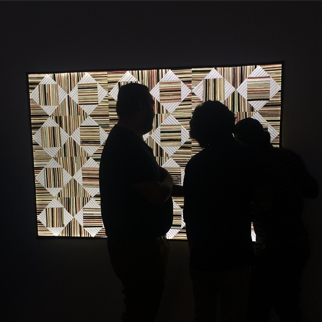 Visitors currently checking out our opening reception with @filmquilts #shoshanawaynegallery #sabrinagschwandtner #filmquilts