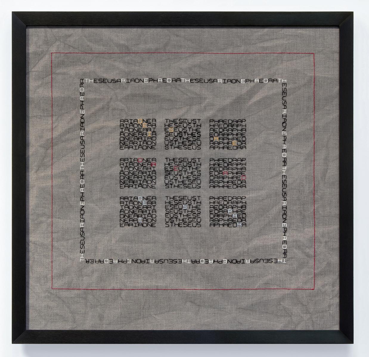 Elaine Reichek -  Desire/Dread/Despair , 2012 (Hand embroidery on linen)