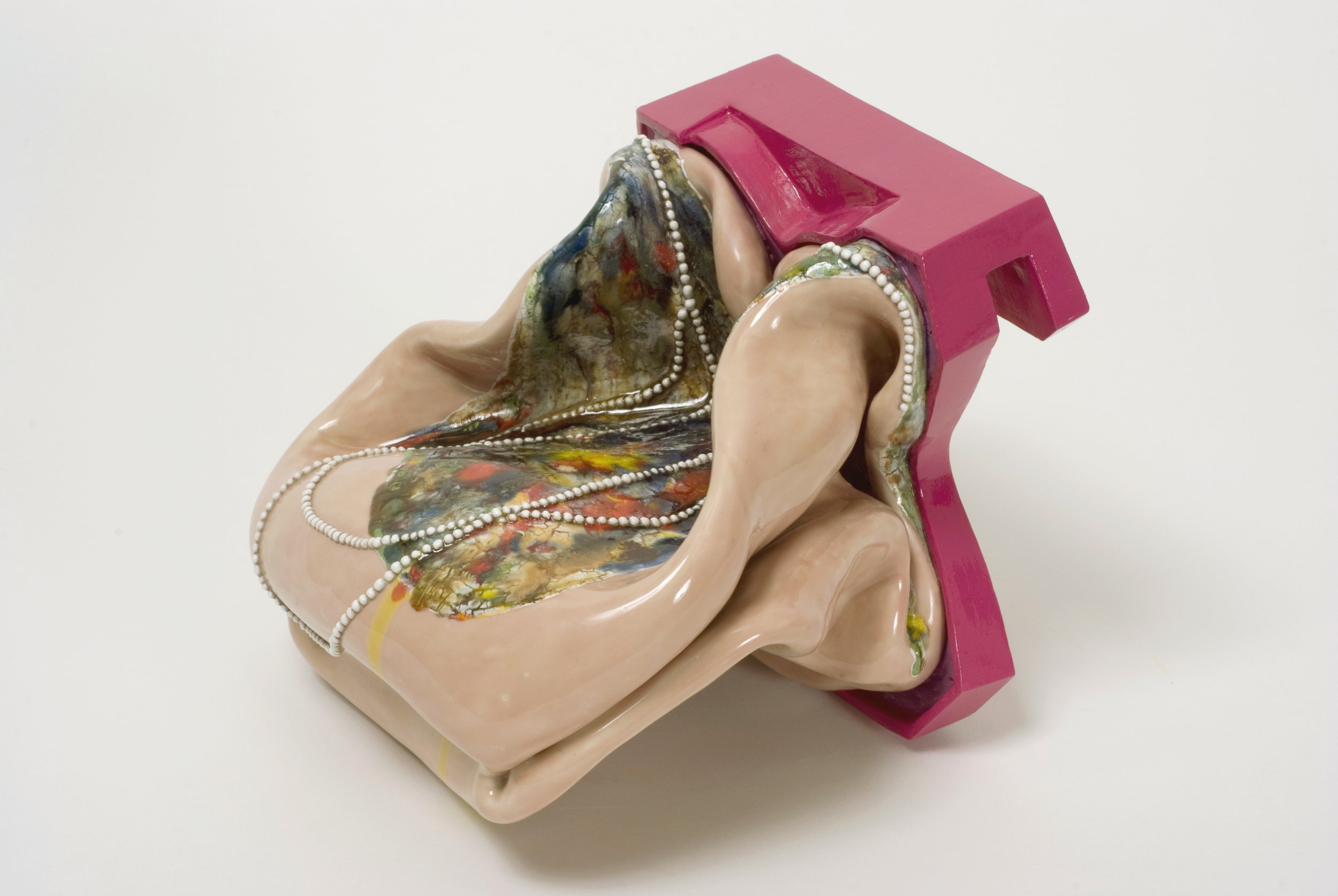 "Kathy Butterly, ""After Easy"" (2008) Clay, glaze, paint. 5 1/4"" x 5 7/8"" x 7 1/4"""